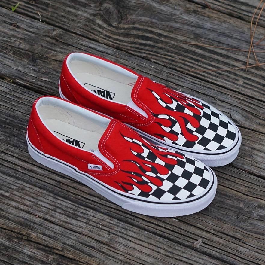 08f4bf3c97b Sepatu Vans Original - Checker Flame Slip-On Racing Red