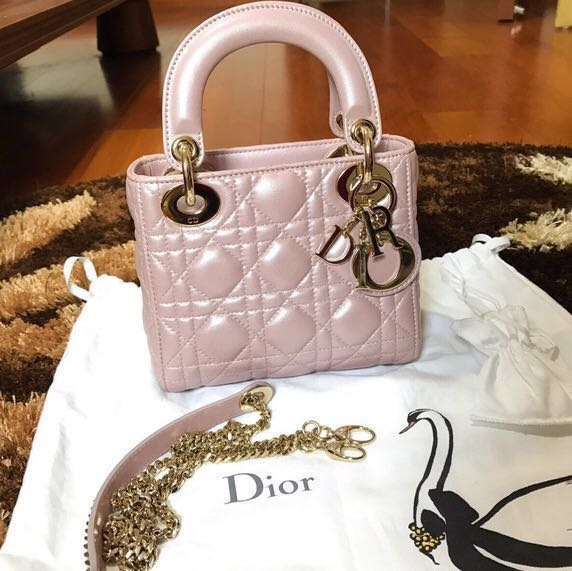 0de783dcf211 SOLD) Lady Dior Mini Pearlised Lotus Pink GHW