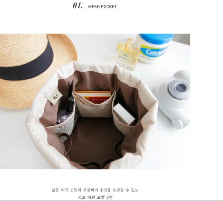 Tas Dompet Kosmetik serut - Dresser Pouch travel bag , tempat make up - Biru ,
