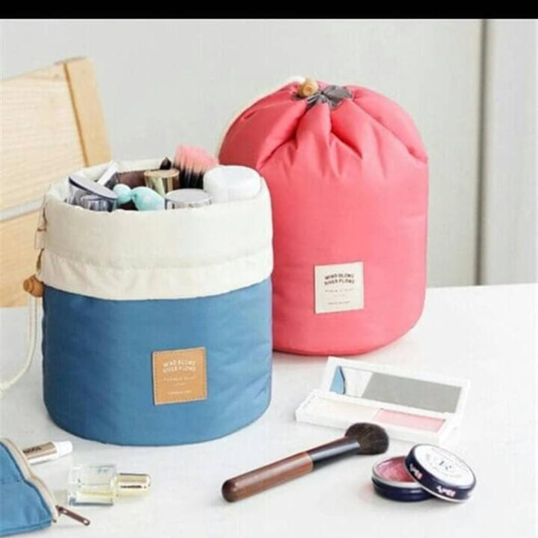 Tas Dompet Kosmetik serut - Dresser Pouch travel bag , tempat make up - Biru