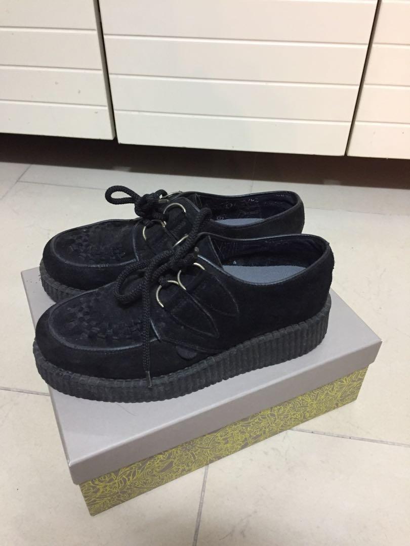 5ffd5d13468 Underground suede black wedge laced shoes platform