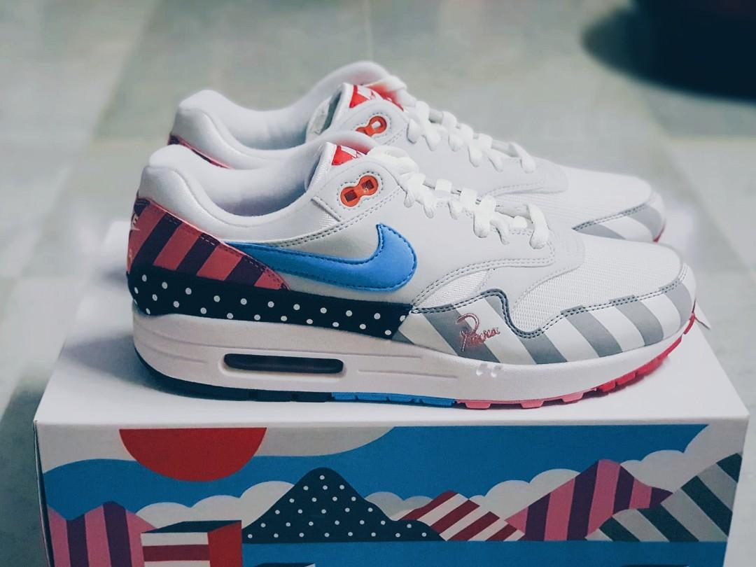 Multiple Sizes Nike Air Max 1 Parra, Men's Fashion, Footwear