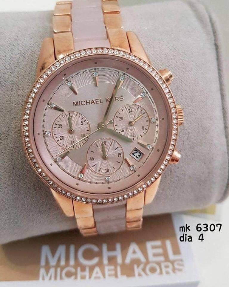 e2a2c726c Women Michael Kors glitz rose gold chronograph crystallized Watch ...