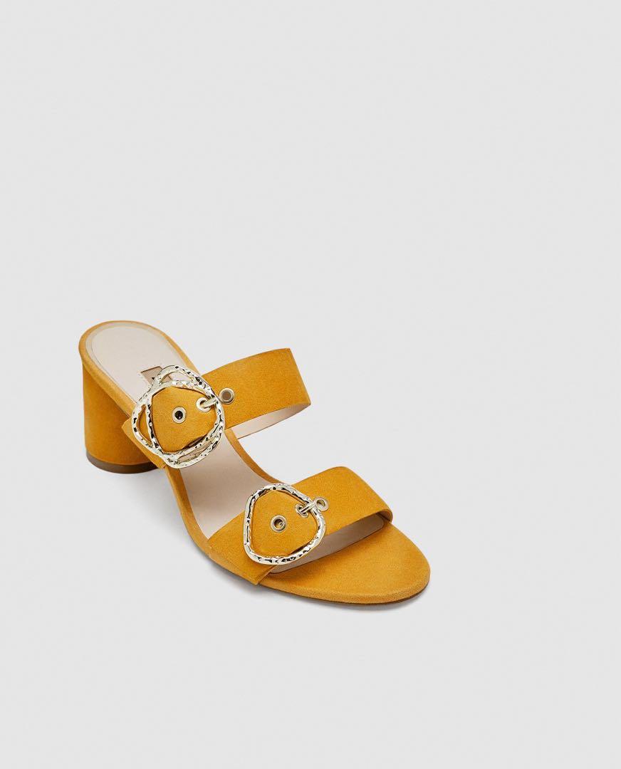 df97b3c6c14 ZARA Mustard Buckle Heels (RTP   89.90)
