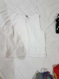 White laser cut print Crop Top