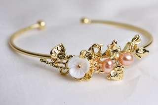 🚚 蔓華吉祥 粉紅珍珠手環 18k手鐲 貝殼花雕刻 外銷日本產品