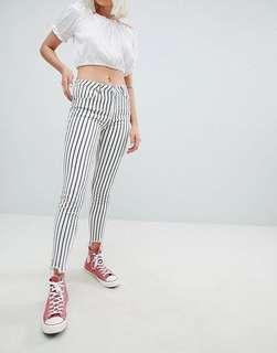 p&b striped freyed hem skinny jean