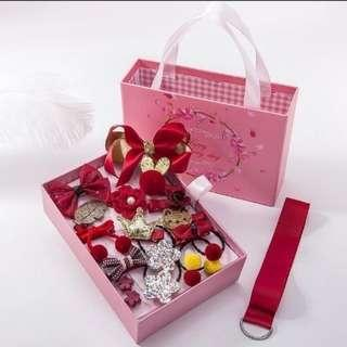 🚚 (現貨不用等)韓國版公主可愛蝴蝶結兒童髮飾,18件套裝禮盒組