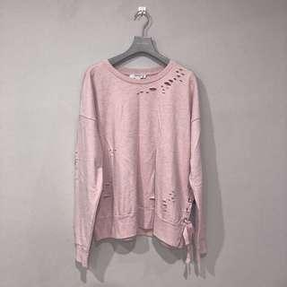 FOREVER 21 RIPPED PINK SWEATSHIRT.