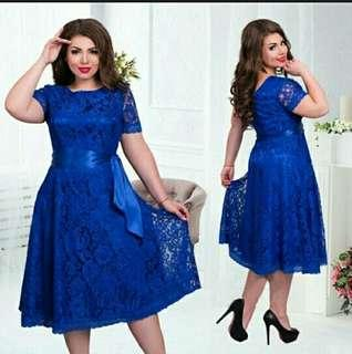 Dress brokat biru electric