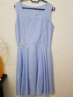 (NEW) Blue Kotak Korean Dress