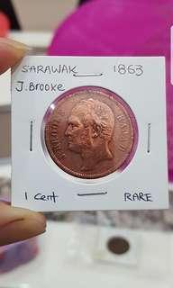 1863 Sarawak J. Brooke 1 cent ,very rare