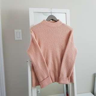 Oversized Blush Pink Mockneck Sweater