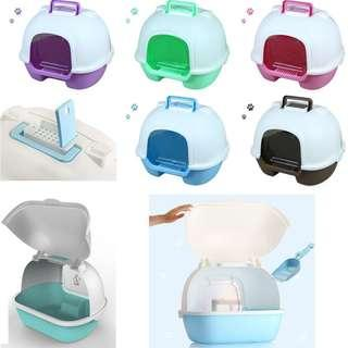 Covered litter tray cat kitten with easy to open top, not condo tree scratch carrier capsule