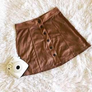 American Eagle Faux Suede Button Down skirt