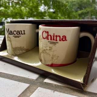 🚚 中國 澳門 星巴克 3oz 城市杯 對杯 當地帶回