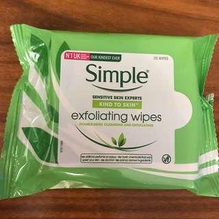 Simple Cleansing & exfoliating Wipes