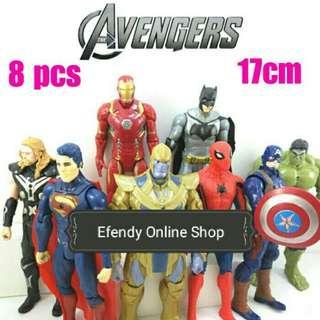 Action Figure Super Hero Avengers 1 Set 8 Pcd
