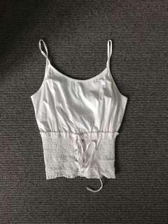 TOPSHOP WHITE LACE UP CAMI