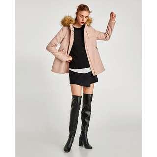 Zara Short Coat with Textured Hood