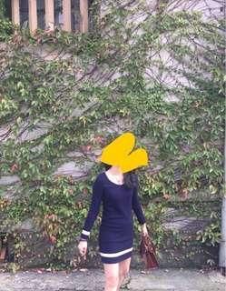 正韓毛料洋裝 蕾絲細節