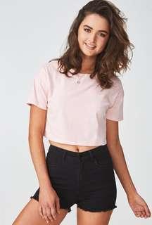 Pastel Pink Crop T Shirt