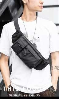 🚚 ✔️INSTOCK! Streetwear Black Nylon Sling Pouch - Cyclist Chest Bag - Travel Porter Bag - Mens black sling bag - Mens waist pouch