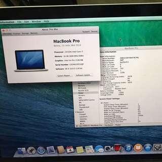 Macbook Pro15,i7,8gb,500gb mid 2012