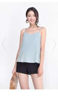 Fayth Asher Textured Top in Light Sea Blue