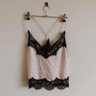 Lace Silk Cami Pink/Black