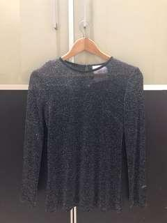 Pre loved MbyMischa black transparant long sleeves XS