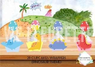 Dinosaur Theme 2D Cupcake Wrapper