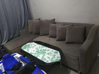 Jual sofa set + bantal + 2 puff + meja kaca + bonus lain