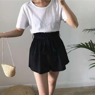 High Waisted Shorts With Ribbon Details (2544)