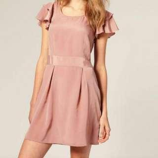 Skater Dress In Dusty Pink With Frilled Sleeves
