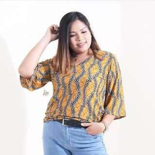 Mustard Vneck Printed top