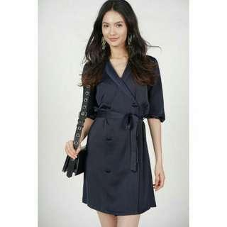 MDS Button Wrap Dress (Navy)