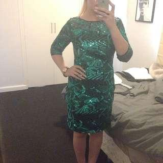 GREEN SEQUINNED RACES DRESS