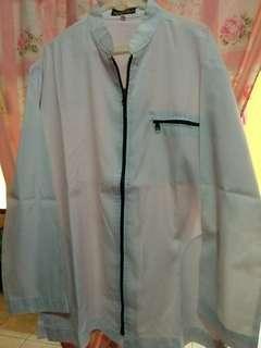 Baju koko tangan panjang putih resleting