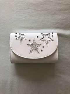 White and Silver Star Clutch