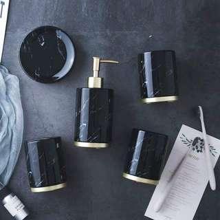 Brass black marble bath accessories