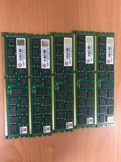 🚚 同品牌型號你能找得到更低-我就能賣更低: 創見 8G 2Rx4 DDR3 1333 REG 桌上型記憶體  (商品已經拆封, 一條3200NTD, 具ECC偵錯檢正功能)