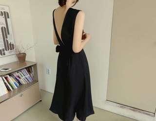 韓版棉麻深藍洋裝(另有杏色)