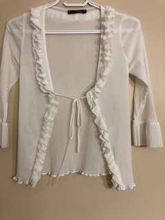 Ruffle sheer blouse