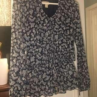 MK FLOWER PRINT BLOUSE IN BLUE