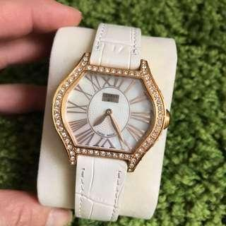#SBUX50 Preloved Cerruti Lady Crystal Rosegold Case White Dial and Leather strap