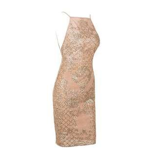 Party Dress Gold Backless