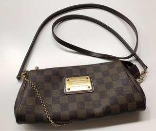 Authentic Louis Vuitton Damier Eva Clutch Shoulder Chain Hand Bag w/shoulder Strap