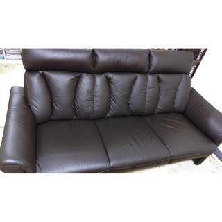 12000元!!! 9成新 宜得利 ALTA KD 深咖啡色 3人用半皮沙發