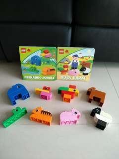 Preloved lego duplo read & build jungle & farm set